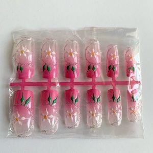 Pink flower press acrylic nail 12 Pcs